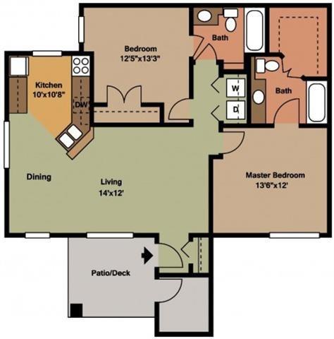 2BR-1 Floor Plan 2