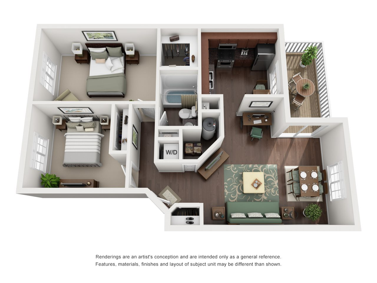 The Apartments at Windbrooke Crossing - 2 Bedroom 1 Bath Apartment