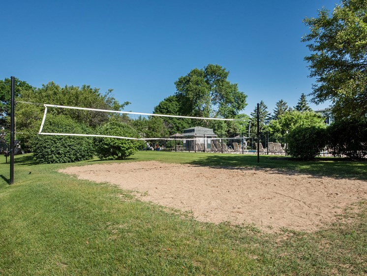 Volley ball court at New Fountains in Fitchburg Wisconsin