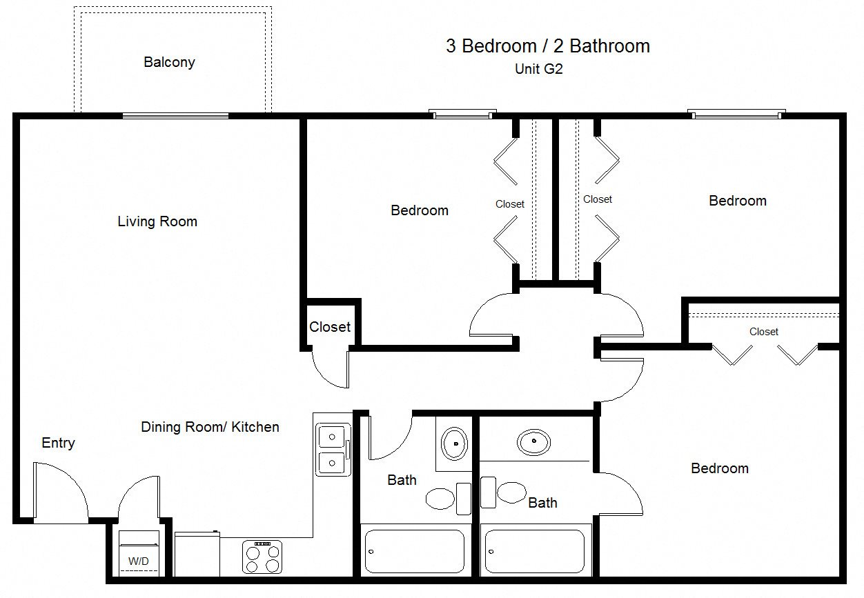 Three bedroom- 993 sqft