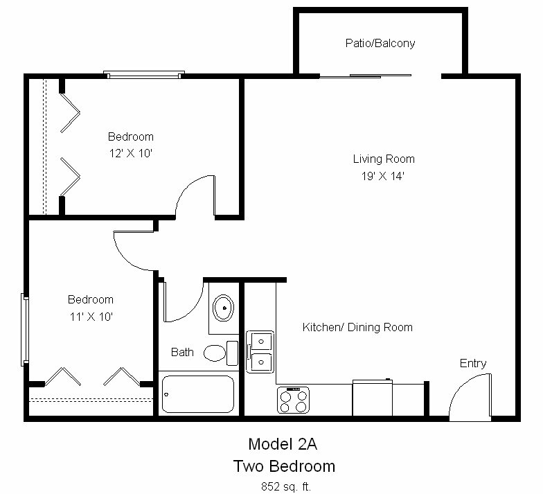 Two bedroom- 852 sqft