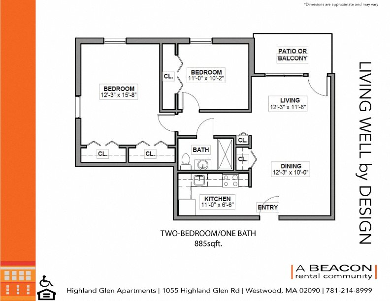 Two bedroom at Highland Glen Apartments in Westwood MA