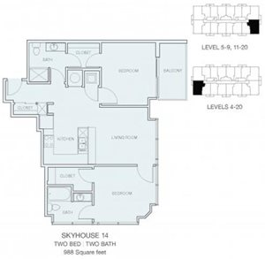 2 Bedroom B1 (East / West)