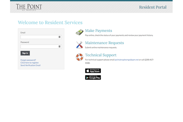 The Point at Naples Apartment Homes Naples, FL 34112 online resident portal for rent payment and maintenance requests