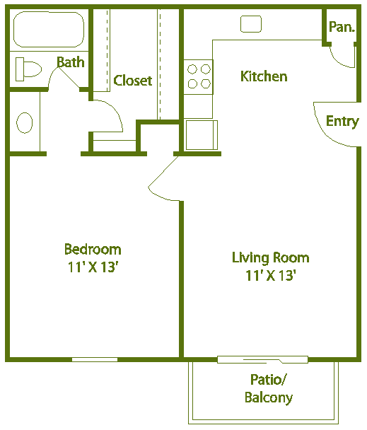 1 bed 1 bath A Floor Plan 2