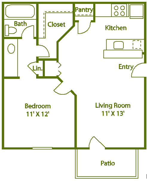 1 bed 1 bath B Floor Plan 3