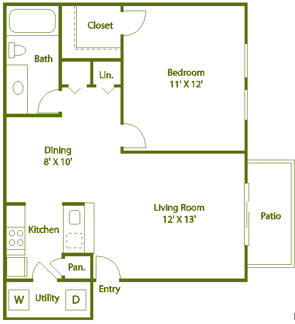 1 bed 1 bath D Floor Plan 5
