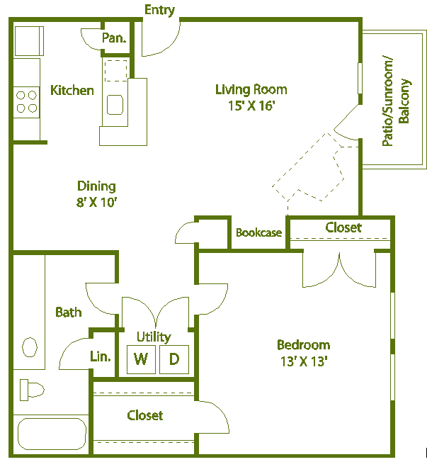 1 bed 1 bath G Floor Plan 8