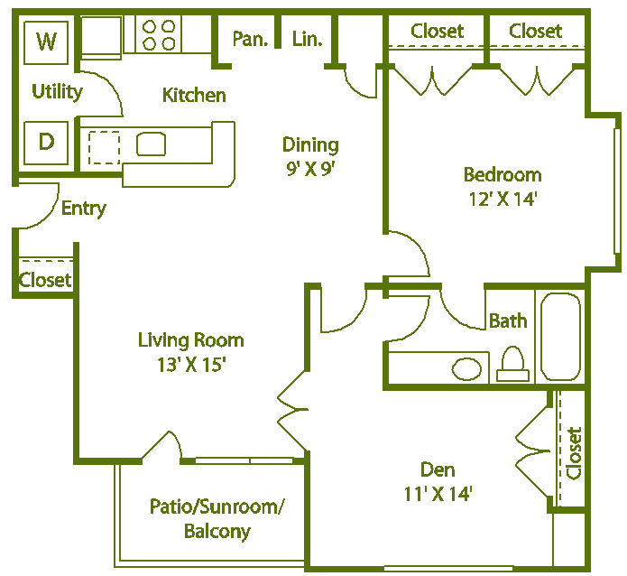 1 bed 1 bath I Floor Plan 10