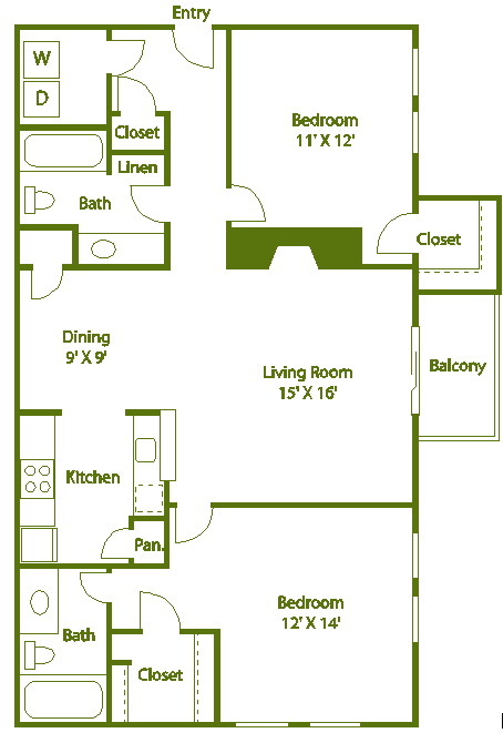 2 bed 2 bath Floor Plan 11