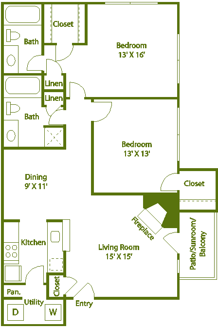 2 bed 2 bath C Floor Plan 14