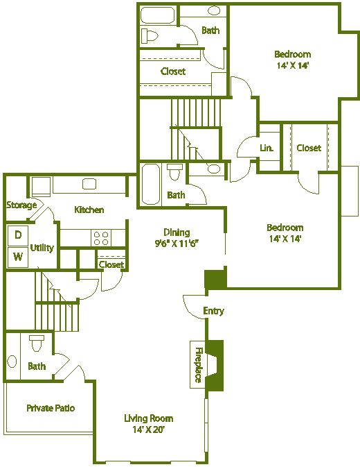 2 bed 2 bath D Floor Plan 15