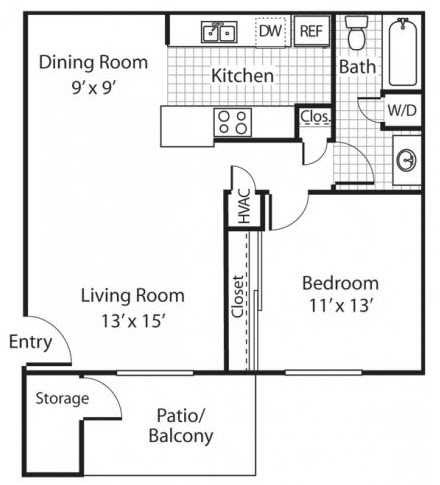 The Alexander_Santa Rosa CA_Floor Plan A1_One Bedroom One Bathroom