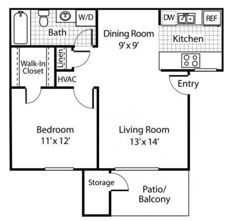 The Alexander_Santa Rosa CA_Floor Plan A2_One Bedroom One Bathroom