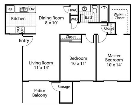The Alexander_Santa Rosa CA_Floor Plan B1_Two Bedroom One Bathroom