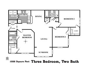 Three Bedroom, Two Bath