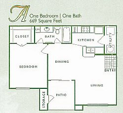 1 Bed 1 Bath | A Floor Plan 1