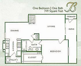 1 Bed 1 Bath | B Floor Plan 2
