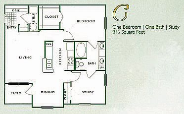 2 Bed 1 Bath | C Floor Plan 3