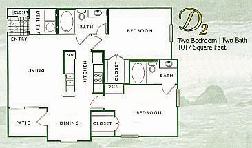 2 Bed 2 Bath | D Floor Plan 4