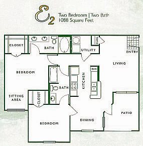 2 Bed 2 Bath | E Floor Plan 5