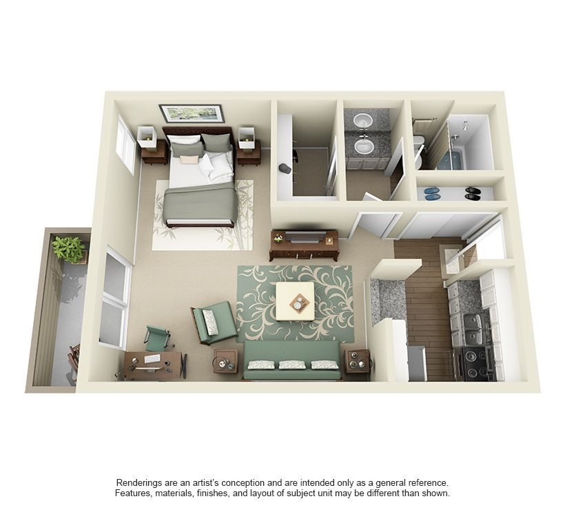 Ruby- 475 sq ft Floor Plan 2