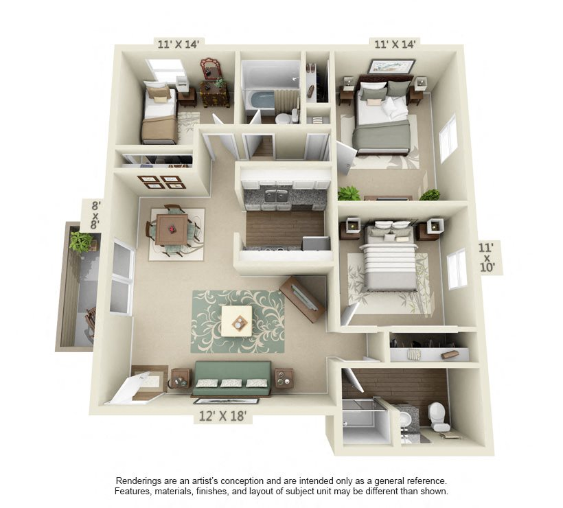Queen Anne- 1200 sq ft Floor Plan 13