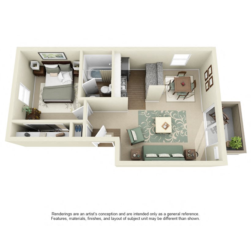 Date- 610 sq ft Floor Plan 3