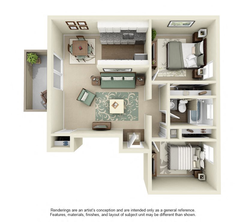 Royal- 825 sq ft Floor Plan 10
