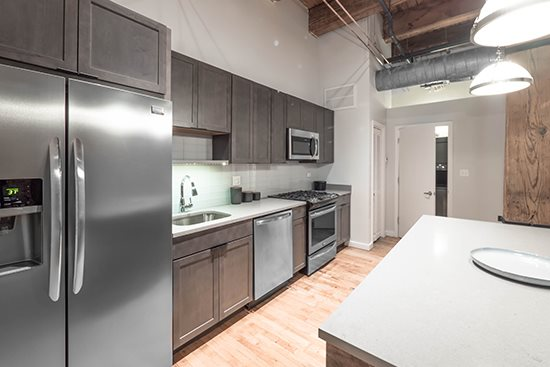 Designer Kitchens at Green Street Lofts Apartments, Chicago, 60607