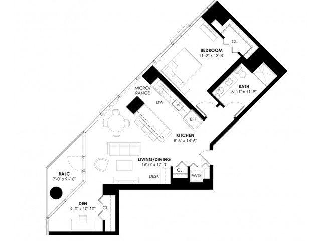 Plan 1B+Den Floor Plan 6
