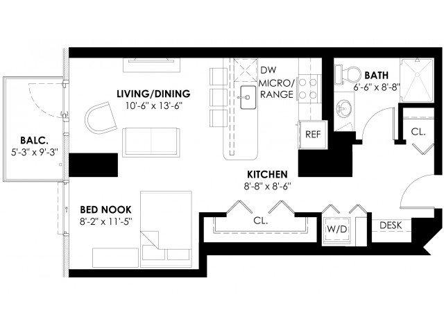 Studio Plan A Floor Plan 1