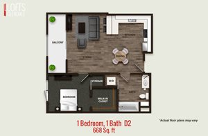 1 Bedroom, 1 Bath D2