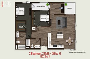 2 Bedroom, 2 Bath + Office G