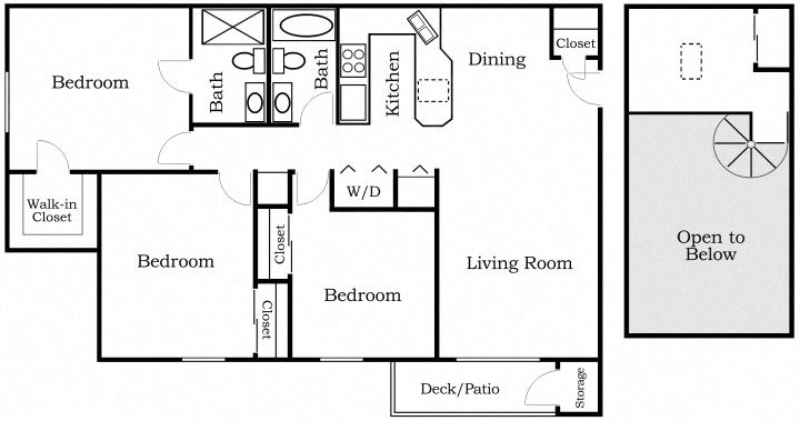 Three Bedroom Loft Floor Plan 6