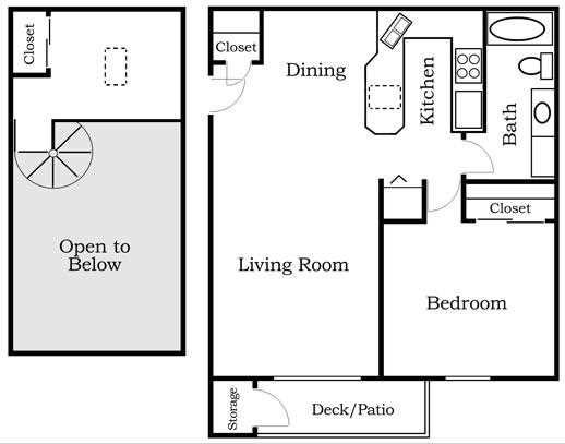 One Bedroom Loft Floor Plan 2