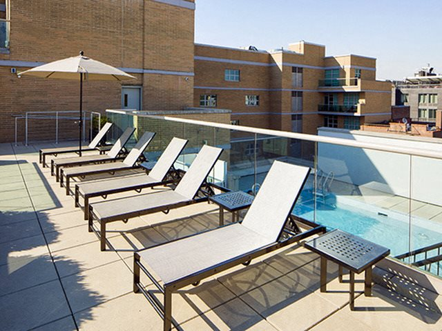 Pool Side Relaxing Area at 111 Kent, New York, 11249