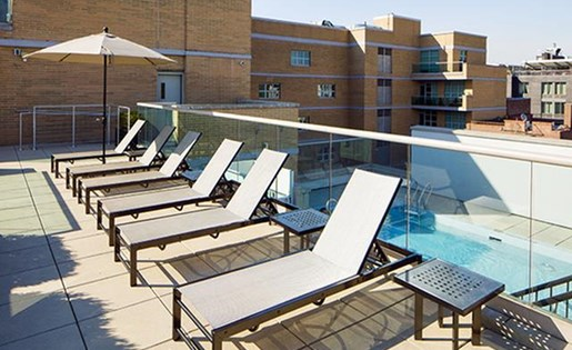 Pool Side Relaxing Area at 111 Kent Apartment Homes, 111 Kent Ave, NY