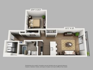 1 Bed 1 Bath Adventure Floor Plan at Alara Union Station, Colorado, 80202
