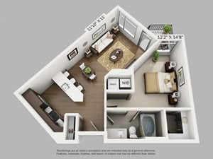 1 Bed 1 Bath Arrive Floor Plan at ALARA Union Station Apartment Homes, Denver, CO