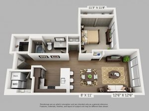 1 Bed 1 Bath Destination Floor Plan at ALARA Union Station Apartment Homes, 1975 19th Street Denver