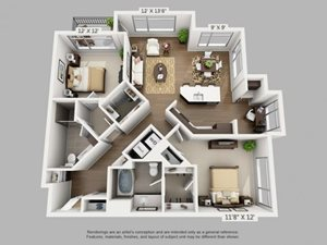 2 Bed 2 Bath Discover Floor Plan at ALARA Union Station Apartment Homes, CO, 80202
