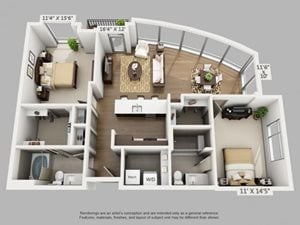 2 Bed 2 Bath Explore Floor Plan at ALARA Union Station Apartment Homes, Denver, CO