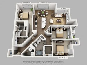 3 Bed 2 Bath Freedom Floor Plan at ALARA Union Station Apartment Homes, 1975 19th Street Denver, CO