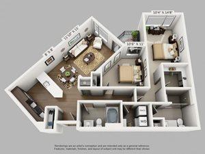 2 Bed 2 Bath Roam Floor Plan at ALARA Union Station Apartment Homes, Denver, CO