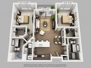 2 Bed 2 Bath Travel Floor Plan at ALARA Union Station Apartment Homes, Denver, 80202