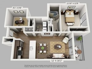 1 Bed 1 Bath Voyage Floor Plan at ALARA Union Station Apartment Homes, 1975 19th Street Denver, CO