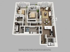 2 Bed 2 Bath Wander Floor Plan at ALARA Union Station Apartment Homes, California, 80202