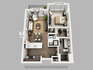 1 Bed 1 Bath Wayfare Floor Plan at ALARA Union Station Apartment Homes, CO, 80202