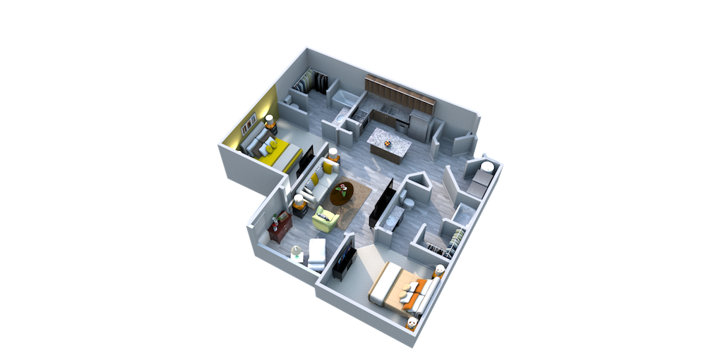 Lake Nona Ariel Apartments Two Bedroom Two Bath Solarium Hawthorn Floor Plan